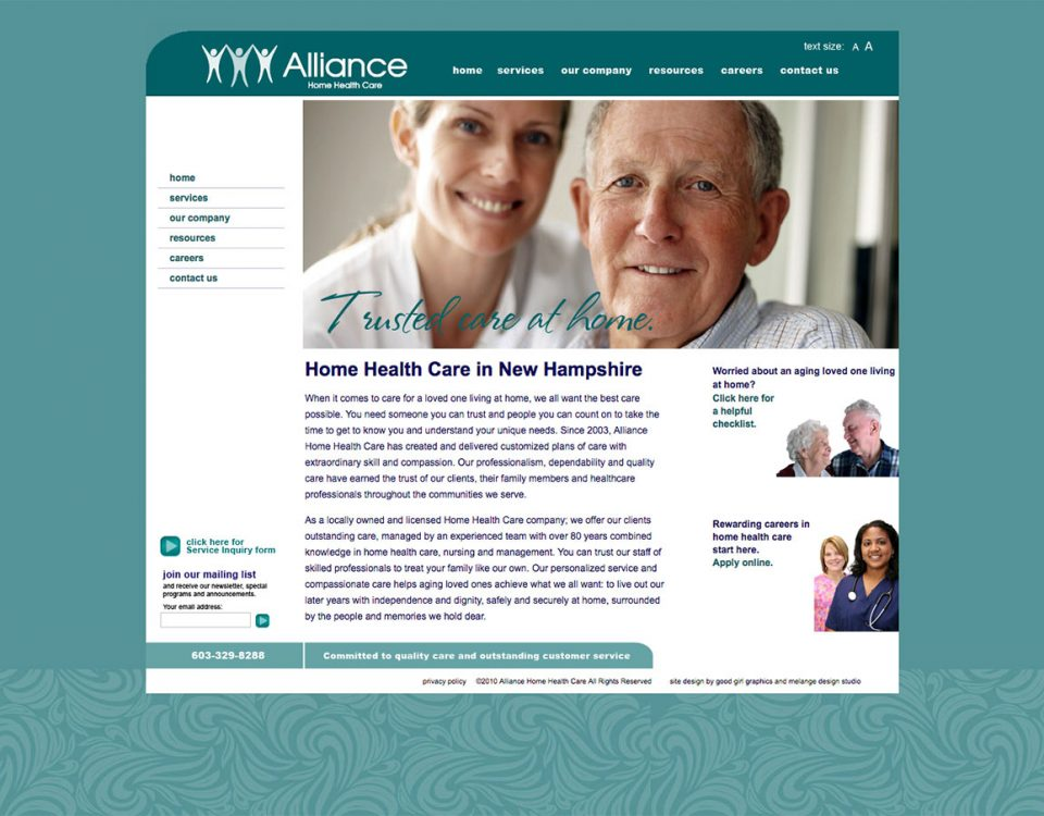 Alliance Home Health Care website by Good Girl Graphics and ModSpot